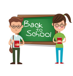 Back to school boy and girl student backpack and vector