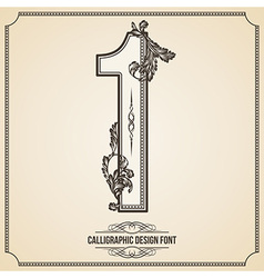 Calligraphic font Number 1 vector image vector image