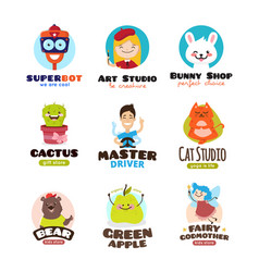 Cartoon mascots set kids logo templates vector