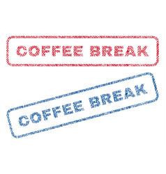Coffee break textile stamps vector