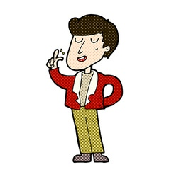 comic cartoon cool guy snapping fingers vector image