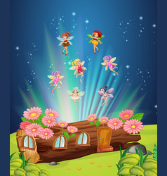 Fairies flying over the log house vector