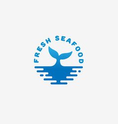 fresh seafood logo vector image vector image