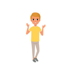 full-length portrait of teen boy in yellow t-shirt vector image