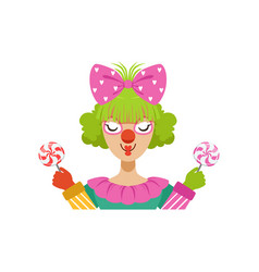 Funny female circus clown holding lollipops vector
