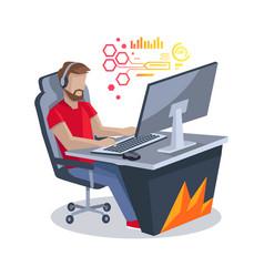 Gamer in front of computer vector