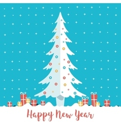 Happy new year christmas tree and present boxes vector
