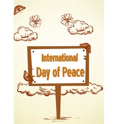 International day of peace with wood sign vector