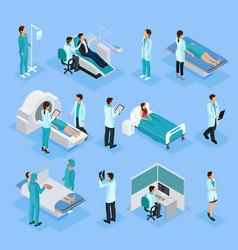 Isometric doctors and patients set vector