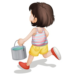 Kid carrying paint vector