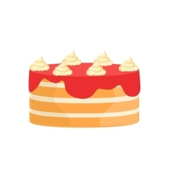 Layered cake with strawberry syrup decorated big vector