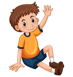 Little boy having arm up for question vector