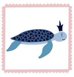 lovely of a turtle in the crown vector image