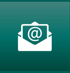 Mail envelope icon isolated on green background vector