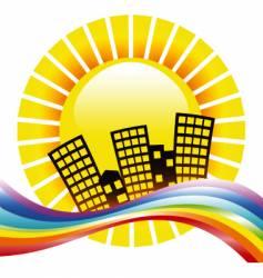 rainbow cityscape vector image