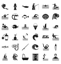 Sea water icons set simple style vector