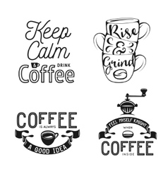 Set of coffee related typography Quotes about vector image vector image