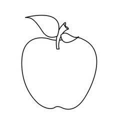 Silhouette apple fruit food with stem and leaf vector