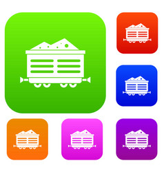 Train waggon with coal set collection vector