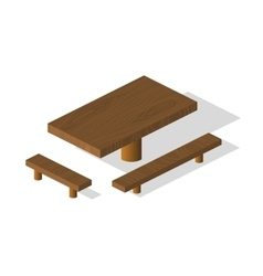 Wooden table and bench 3d isometric elements vector