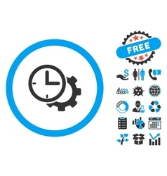 Time setup flat icon with bonus vector