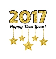 Happy new year 2017 card with gold star isolated vector