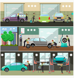 Set of car service auto repair concept vector