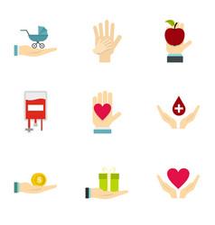 fundraising organizations symbol icons set vector image