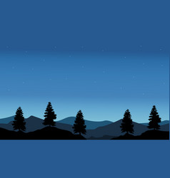 silhouette of tree with blue sky landscape vector image