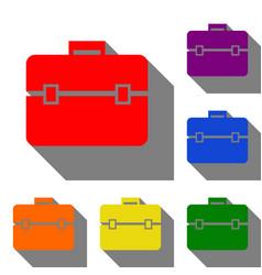 briefcase sign  set of red orange vector image