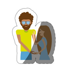 hipster man with beauty girl shadow vector image