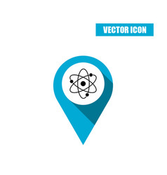 Blue map pin with atom icon isolated on white vector