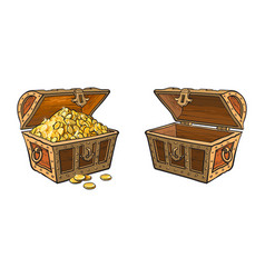 wooden treasure chest set isolated vector image