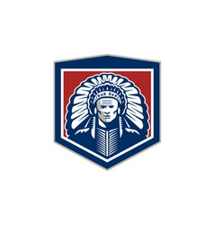 Native american chief shield retro vector