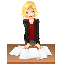 A woman in the office vector