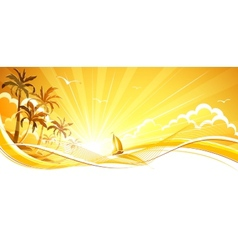Sunny background with palm trees vector