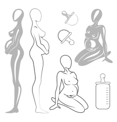 Set pregnant women vector