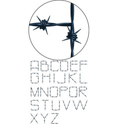 Very detailed barbed wire alphabet vector
