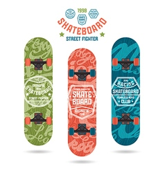 Set of prints on skateboard badges vector