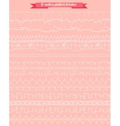 Set with seamless pattern brushes lacy romantic vector
