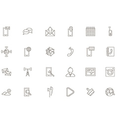Mobile services black icons set vector
