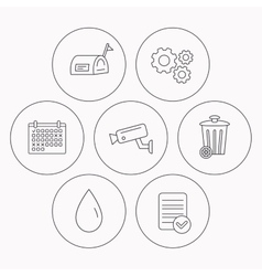 Mailbox video monitoring and water drop icons vector