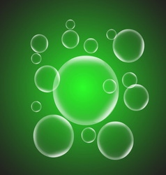 Abstract background with green glossy bubble vector image vector image