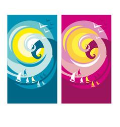 big summer wave poster vector image vector image