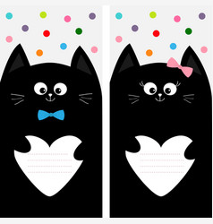 black cat kitty family holding empty heart shape vector image vector image