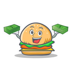 burger character fast food with money vector image vector image