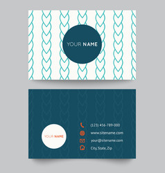 Business card template blue and white pattern vector