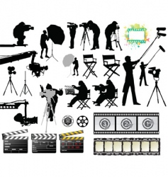 Cameramen and film set equipment vector