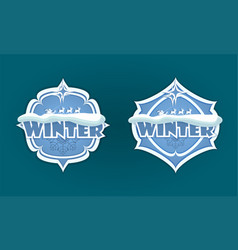 christmas emblem with winter and deer text set vector image