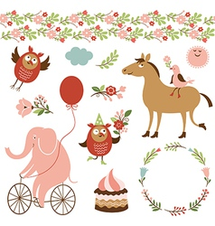 Cute animals and graphic elements vector